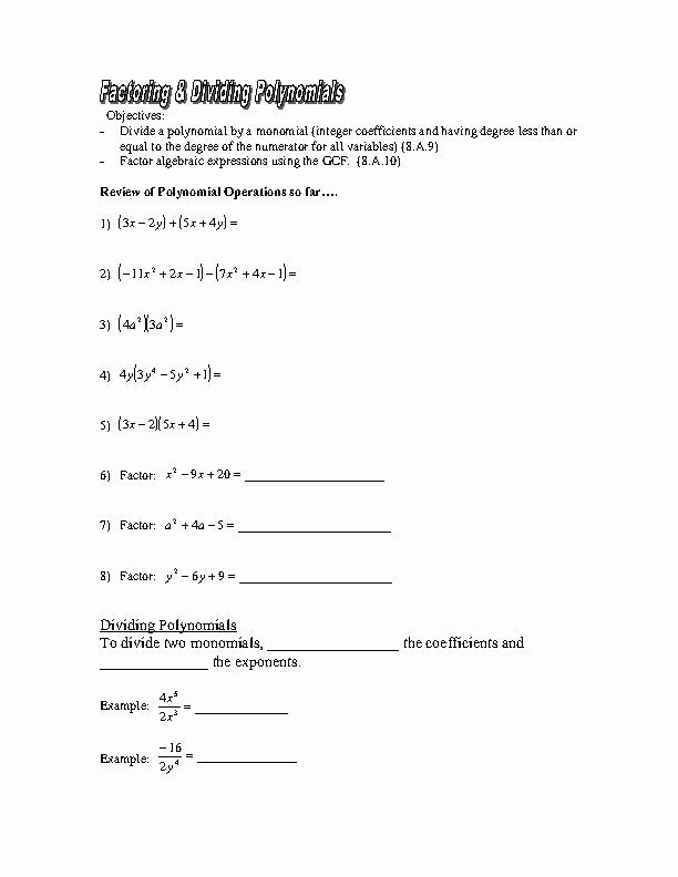 Division Of Polynomials Worksheet New Dividing Monomials Homework Help