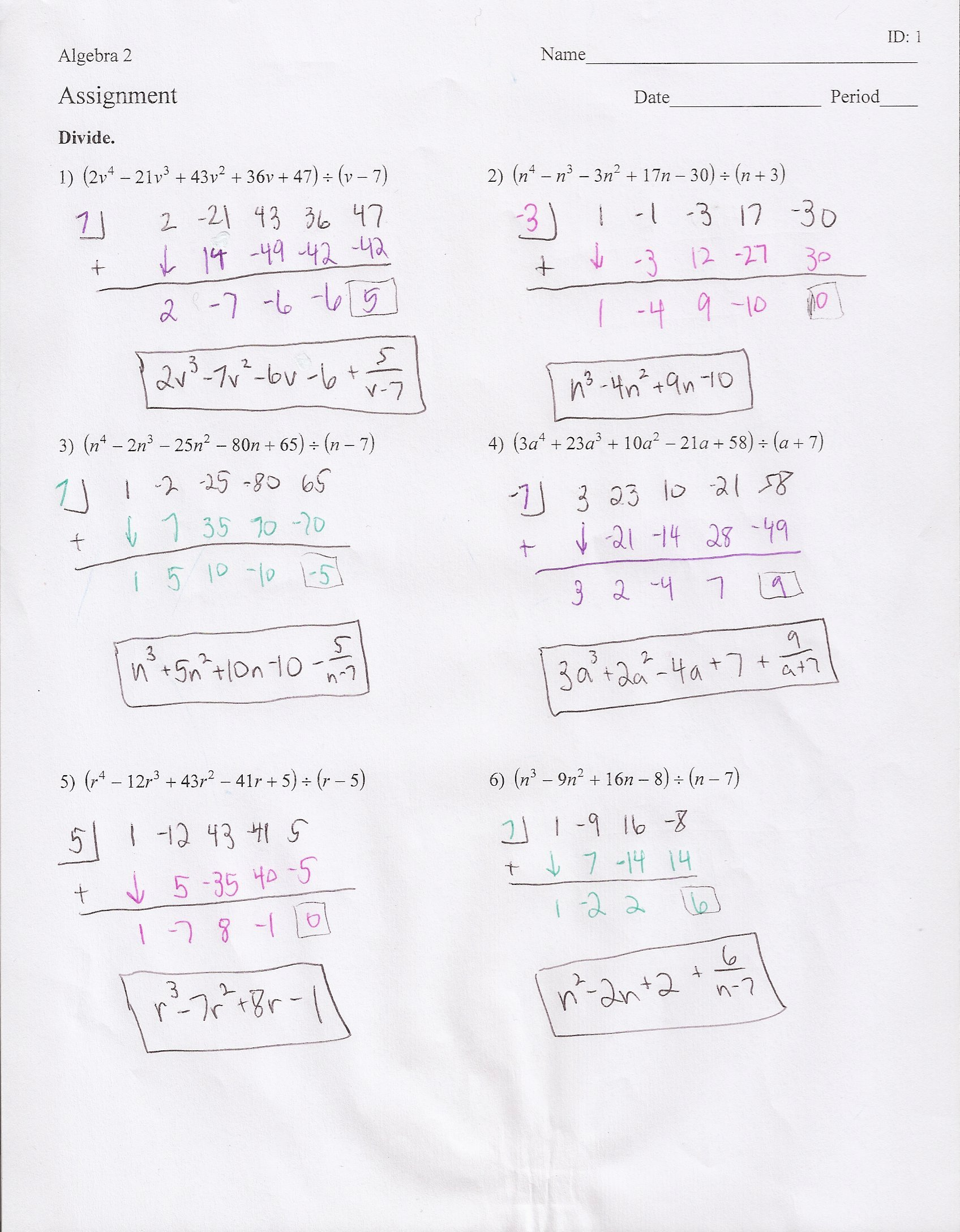 Division Of Polynomials Worksheet Unique Synthetic Division Polynomials Worksheet the Best