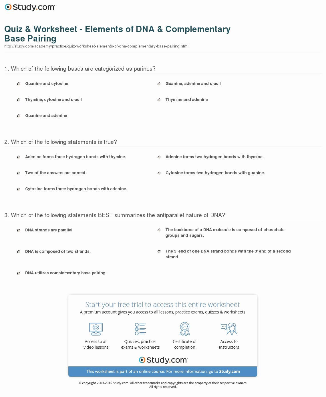 Dna Base Pairing Worksheet Answers Lovely Quiz & Worksheet Elements Of Dna & Plementary Base