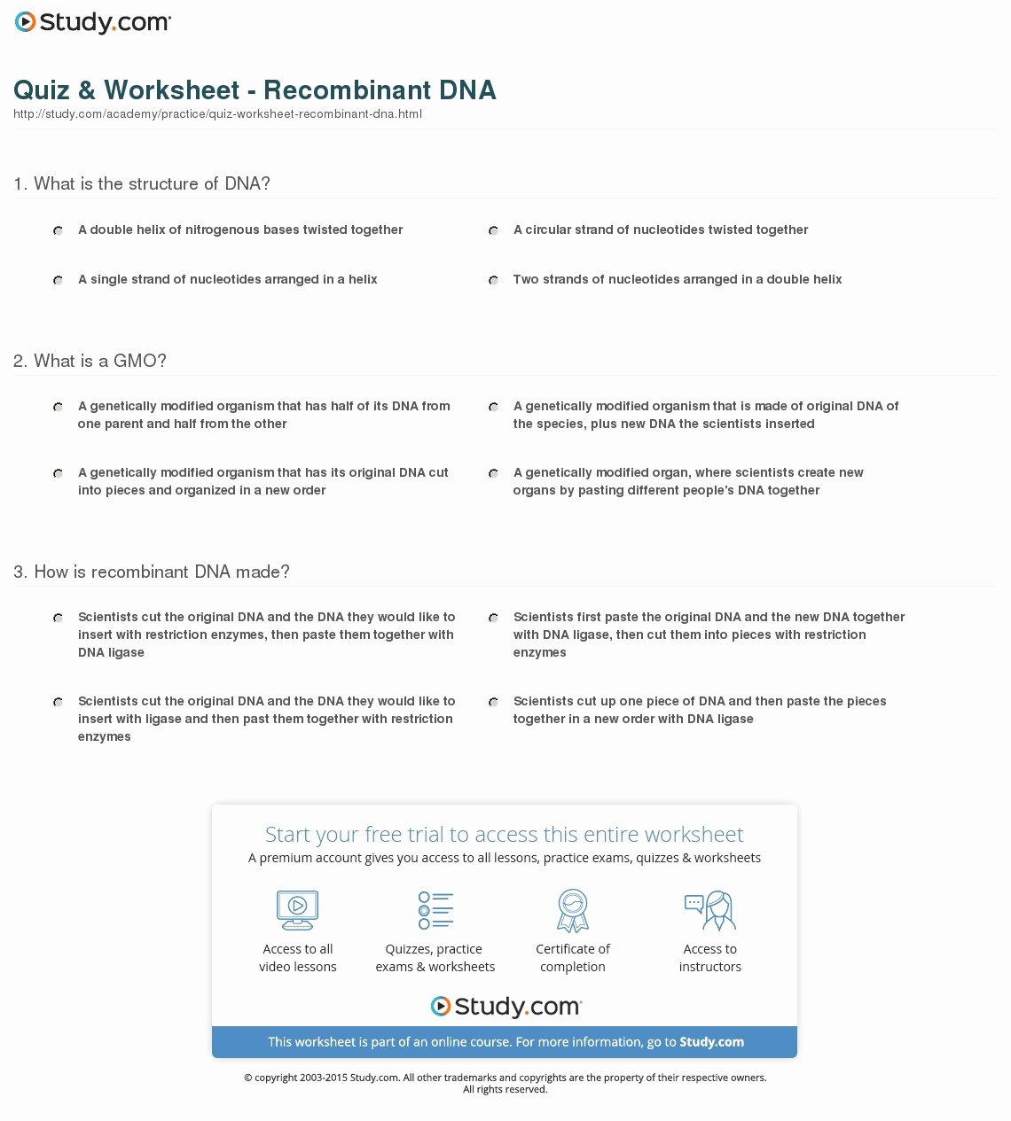 Dna Base Pairing Worksheet Answers New Quiz & Worksheet Re Binant Dna