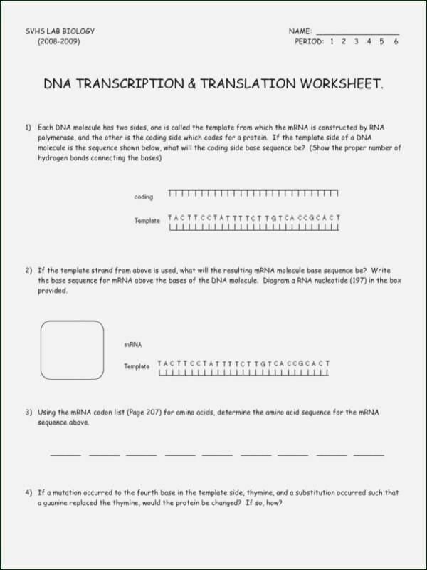 Dna Mutations Practice Worksheet Answer Unique Dna Mutations Practice Worksheet Answers