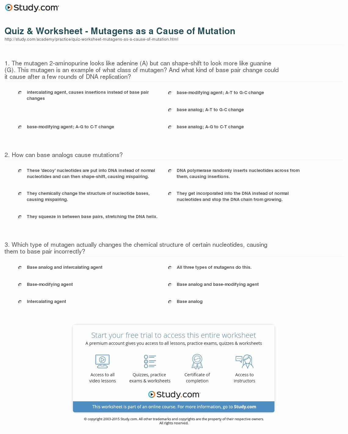 Dna Mutations Practice Worksheet Answers Best Of Quiz & Worksheet Mutagens as A Cause Of Mutation