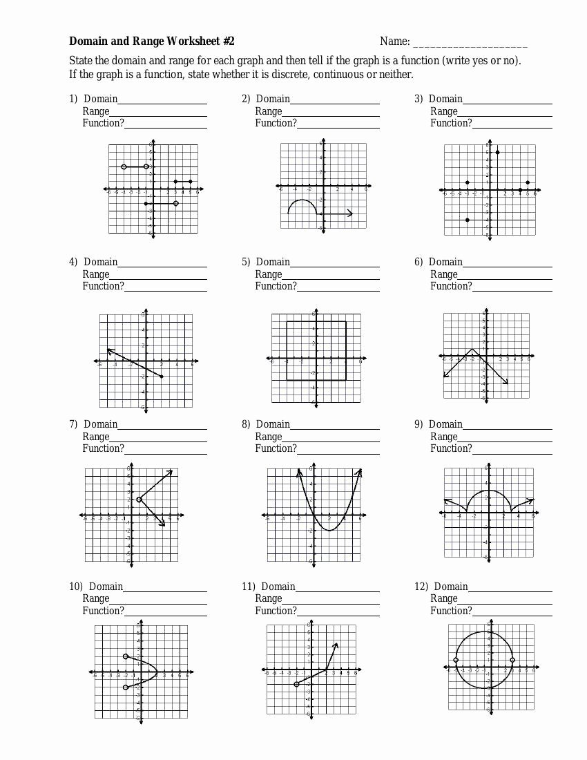 Domain and Range Practice Worksheet Beautiful Domain and Range Discrete Graphs Worksheet