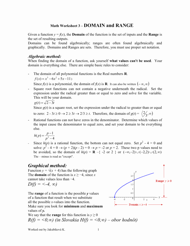 Domain and Range Practice Worksheet Beautiful Domain and Range Worksheet