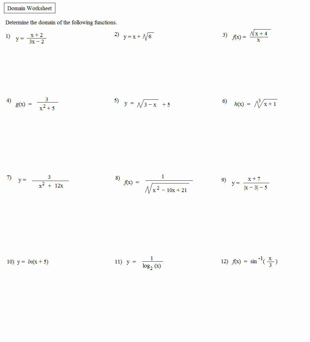 Domain and Range Worksheet Answers Best Of Math Plane Domain & Range Functions & Relations