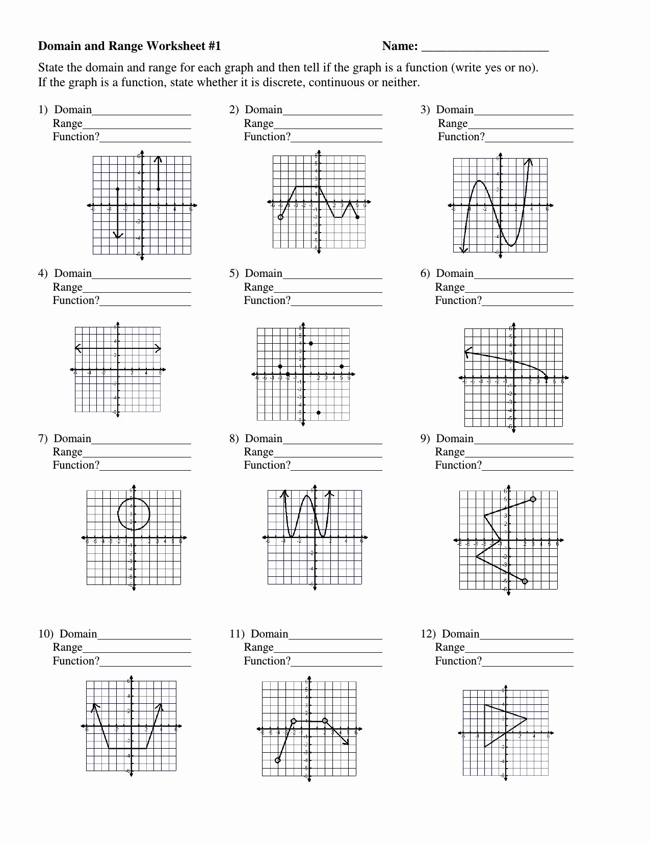 Domain and Range Worksheet Answers Inspirational Domain and Range Graph Worksheet Answers Fresh 10 Unique