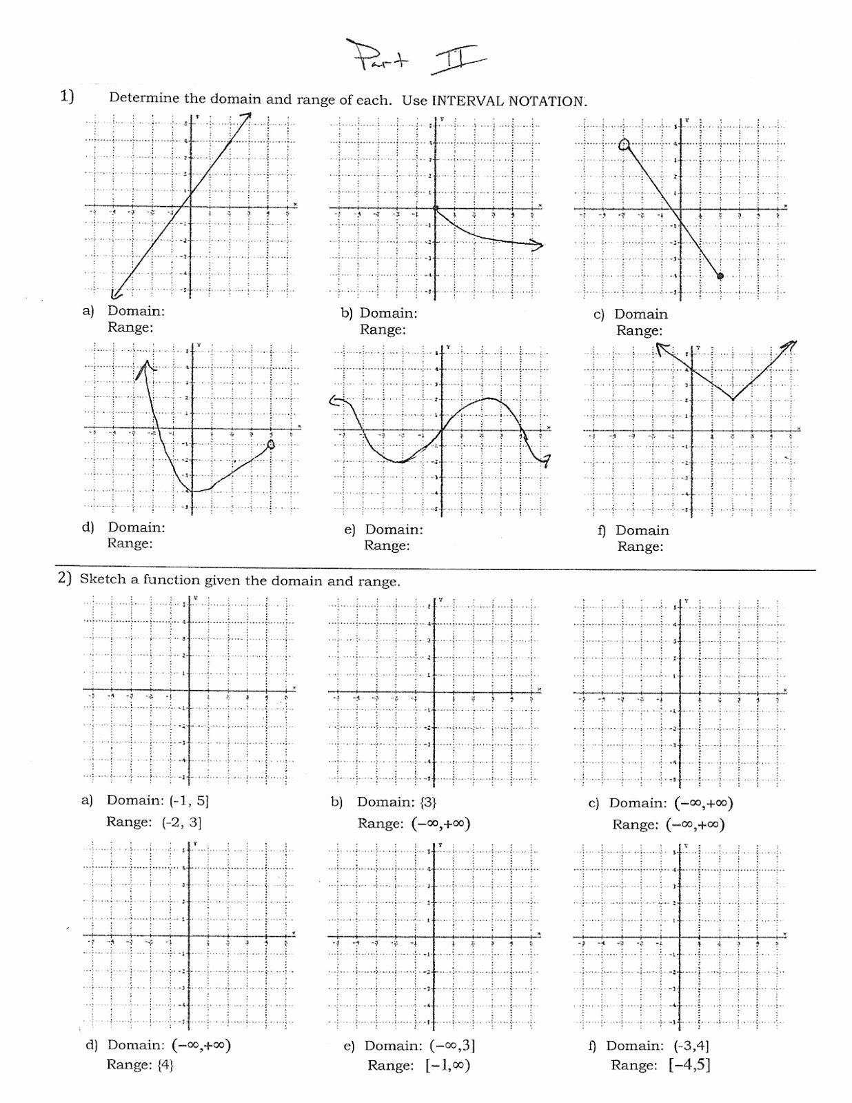 Domain and Range Worksheet Best Of Domain and Range Matching Activity Worksheet Answers