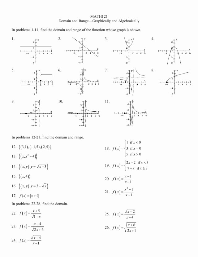 Domain and Range Worksheet New Domain and Range Graphically and Algebraically Worksheet