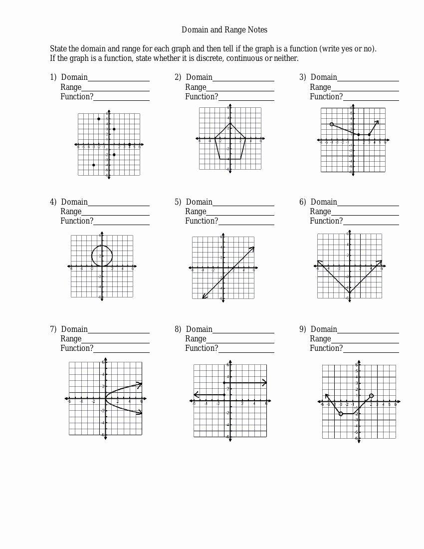 Domain and Range Worksheet Unique Domain and Range Discrete Graphs Worksheet