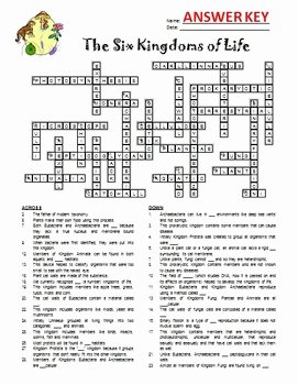 Domains and Kingdoms Worksheet Best Of the Six Kingdoms and Three Domains Of Life Crossword