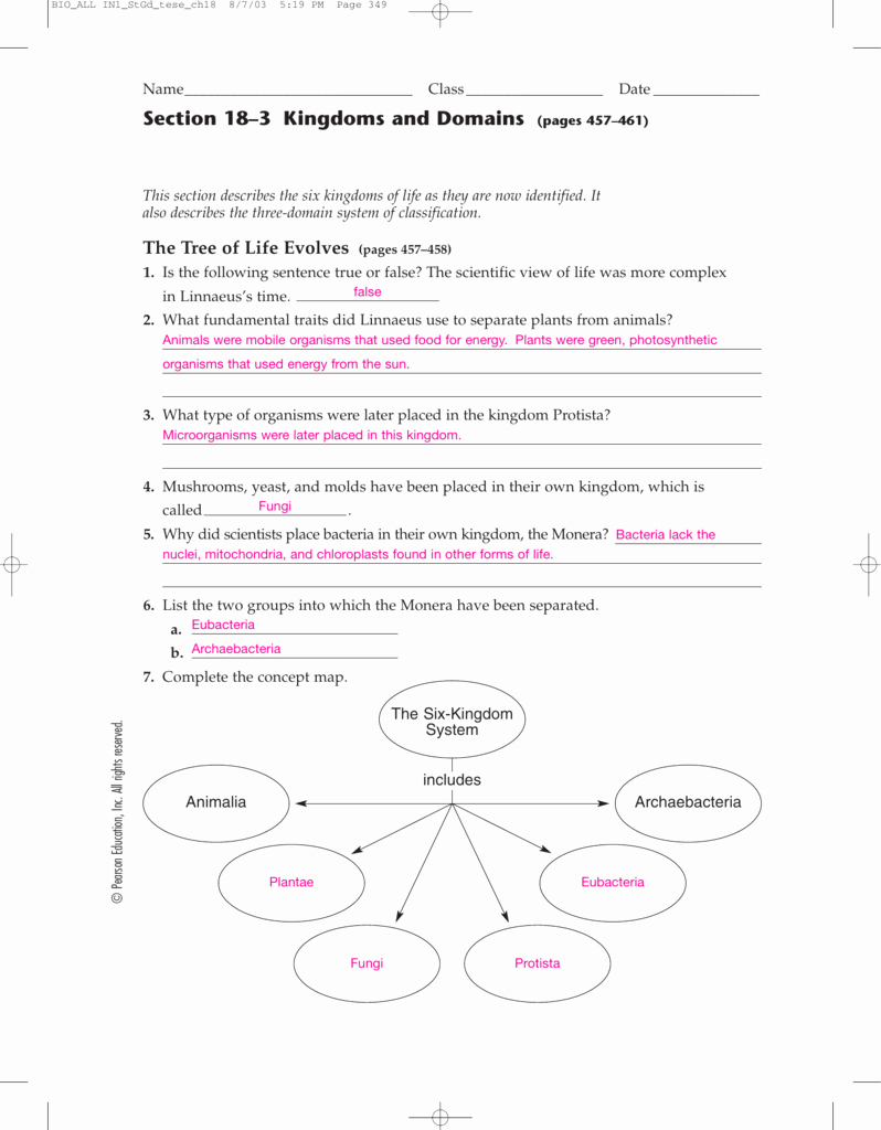 Domains and Kingdoms Worksheet New Worksheet Section 18 2 Modern Evolutionary Classification
