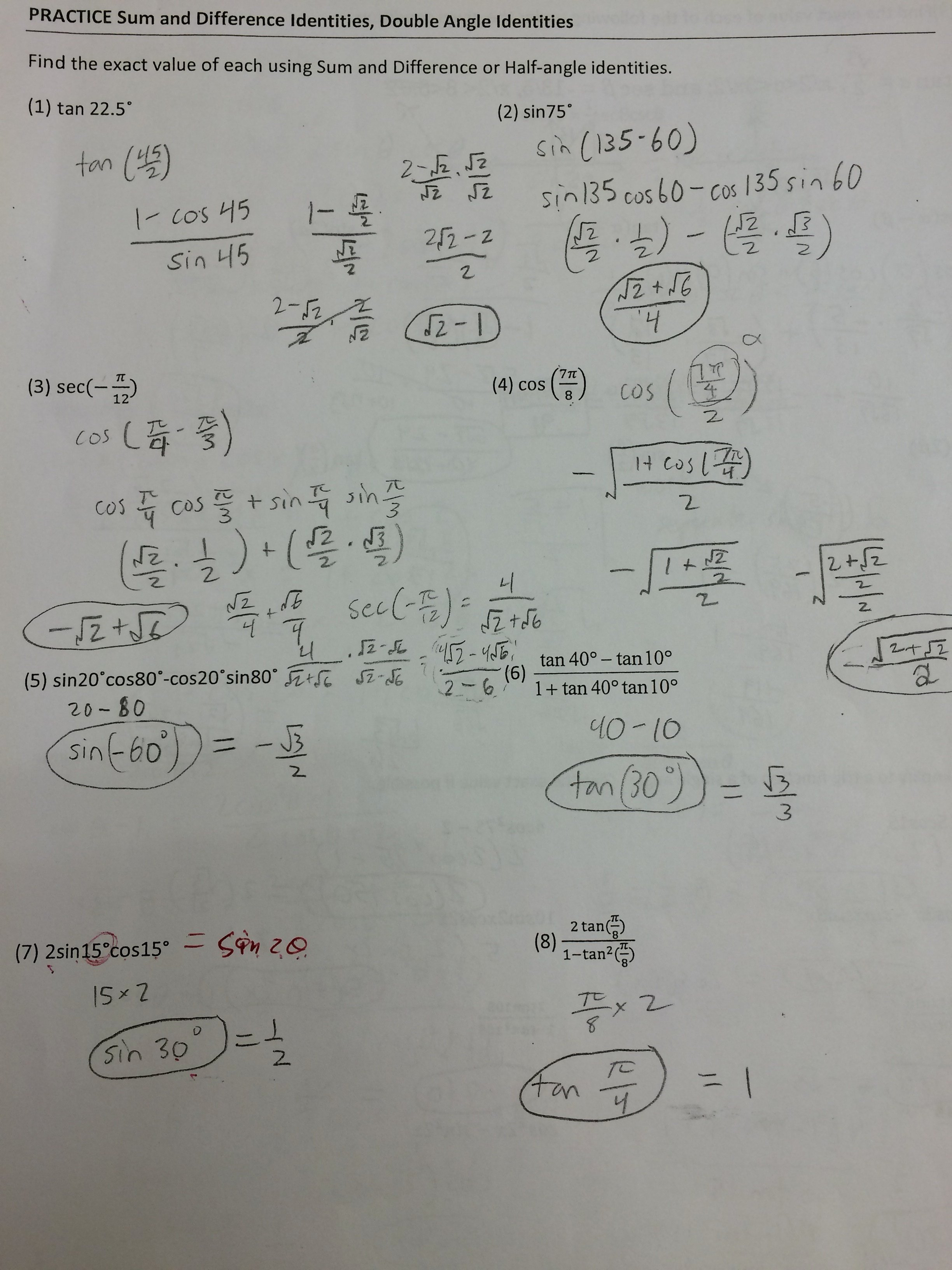 Double Angle Identities Worksheet Beautiful Clayton Valley Charter High School