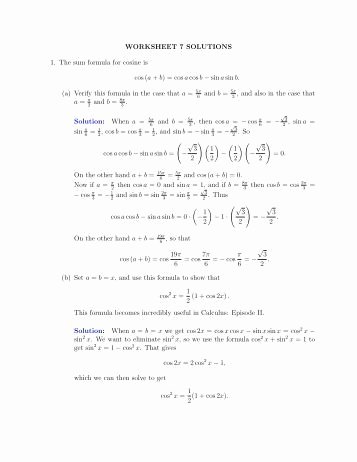 Double Angle Identities Worksheet Beautiful Double Angle Half Angle and Product Sum formulas