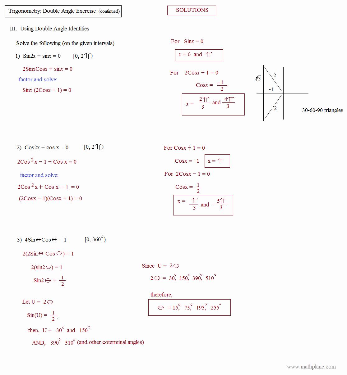 Double Angle Identities Worksheet Beautiful Math Plane Trig Identities Ii Double Angles