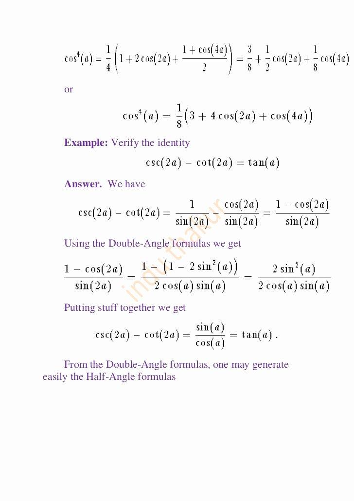 Double Angle Identities Worksheet Elegant Trigonometry for Class Xi