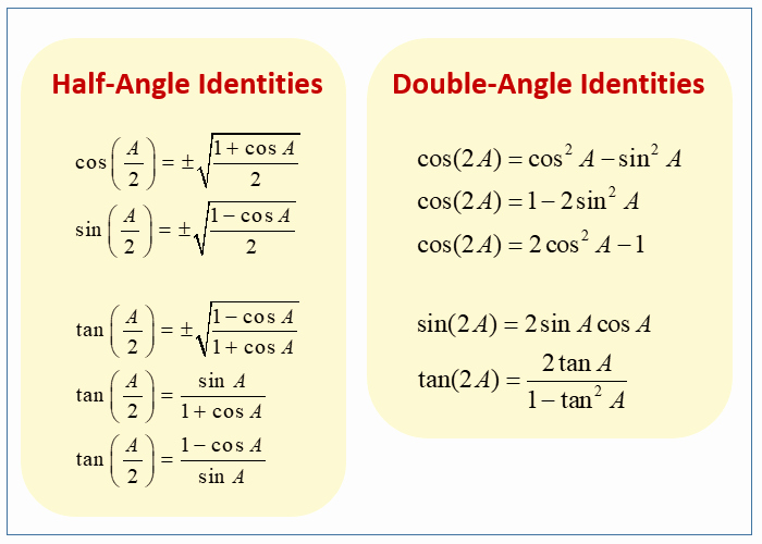 Double Angle Identities Worksheet Unique Half Angle or Double Angle Examples Examples solutions
