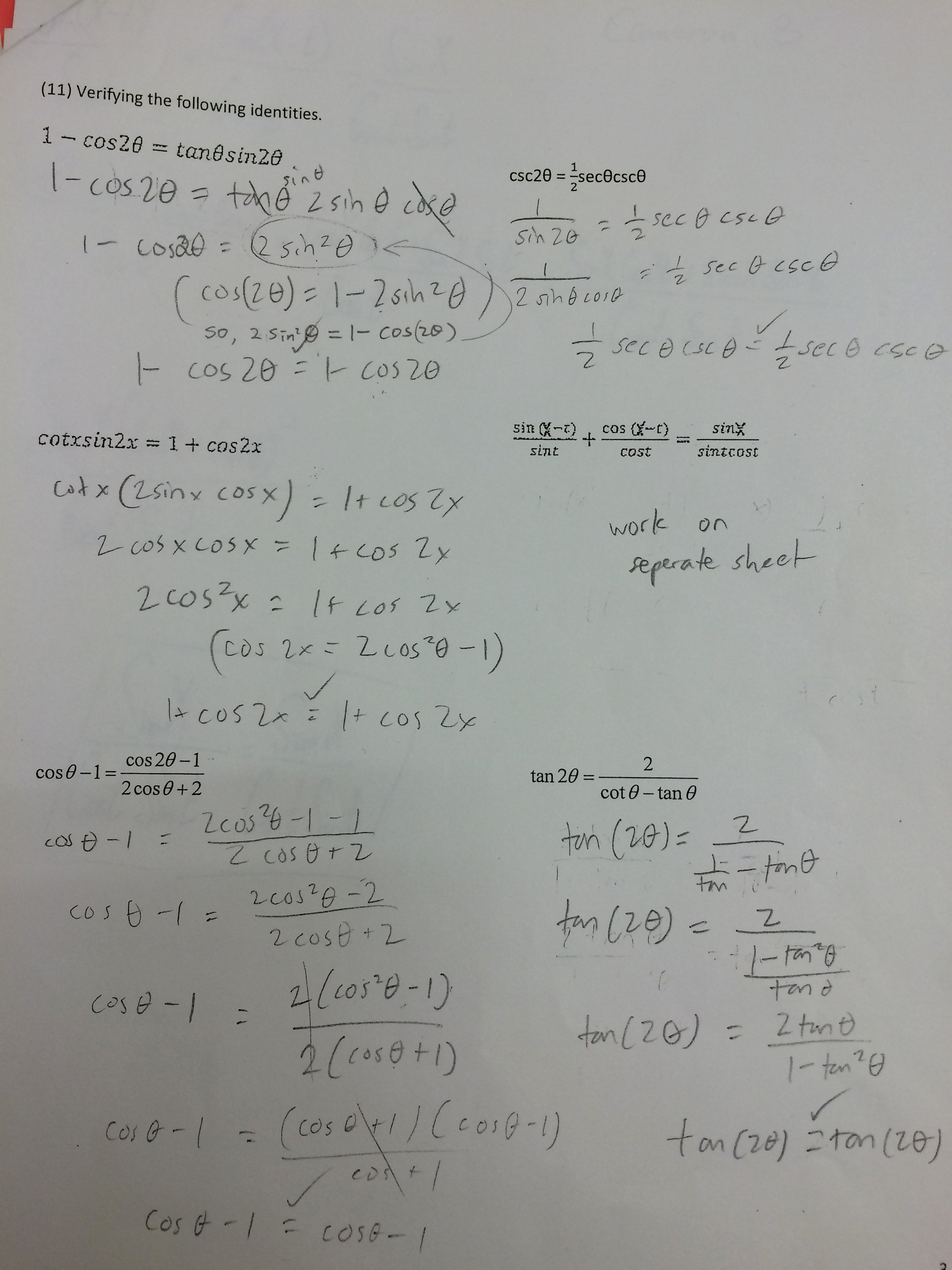 Double Angle Identities Worksheet Unique Sum and Difference Trig Identities Worksheet