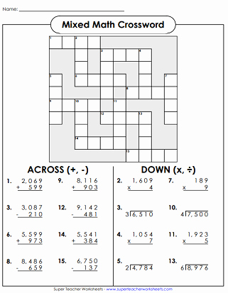 Double Cross Math Worksheet Answers Awesome Math Crossword Puzzles