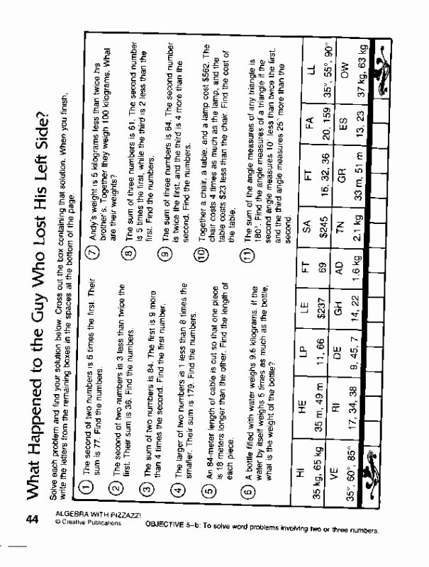 Double Cross Math Worksheet Answers Elegant Pre Algebra with Pizzazz Daffynition Decoder Answers Page