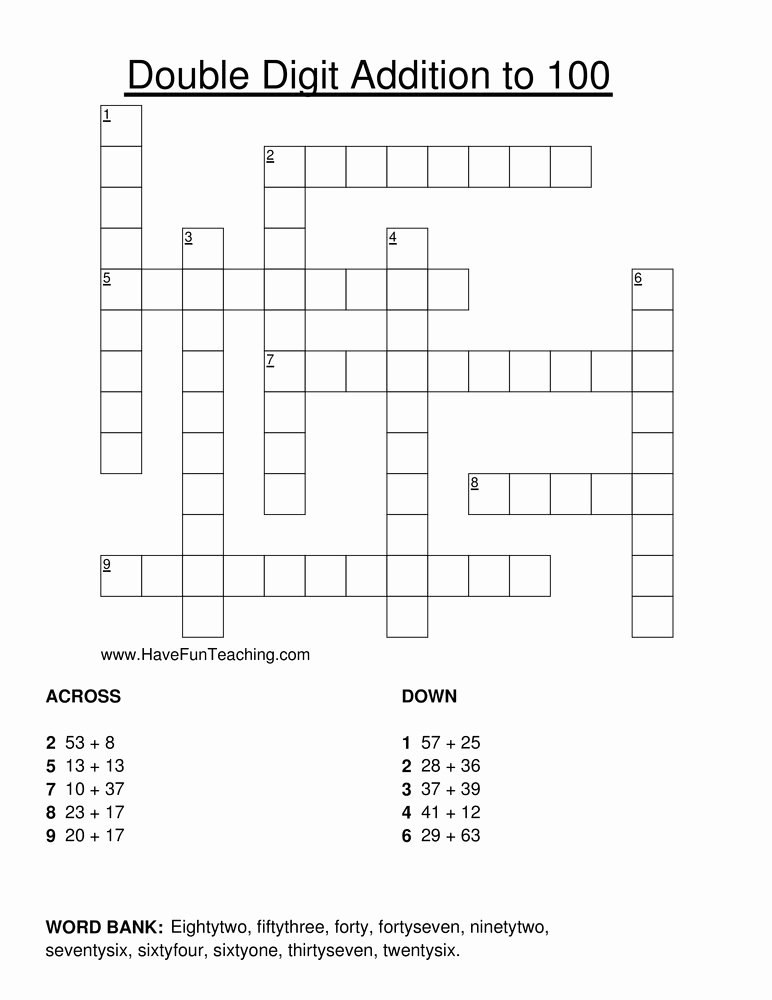 Double Cross Math Worksheet Answers Lovely Math Addition Worksheets Resources