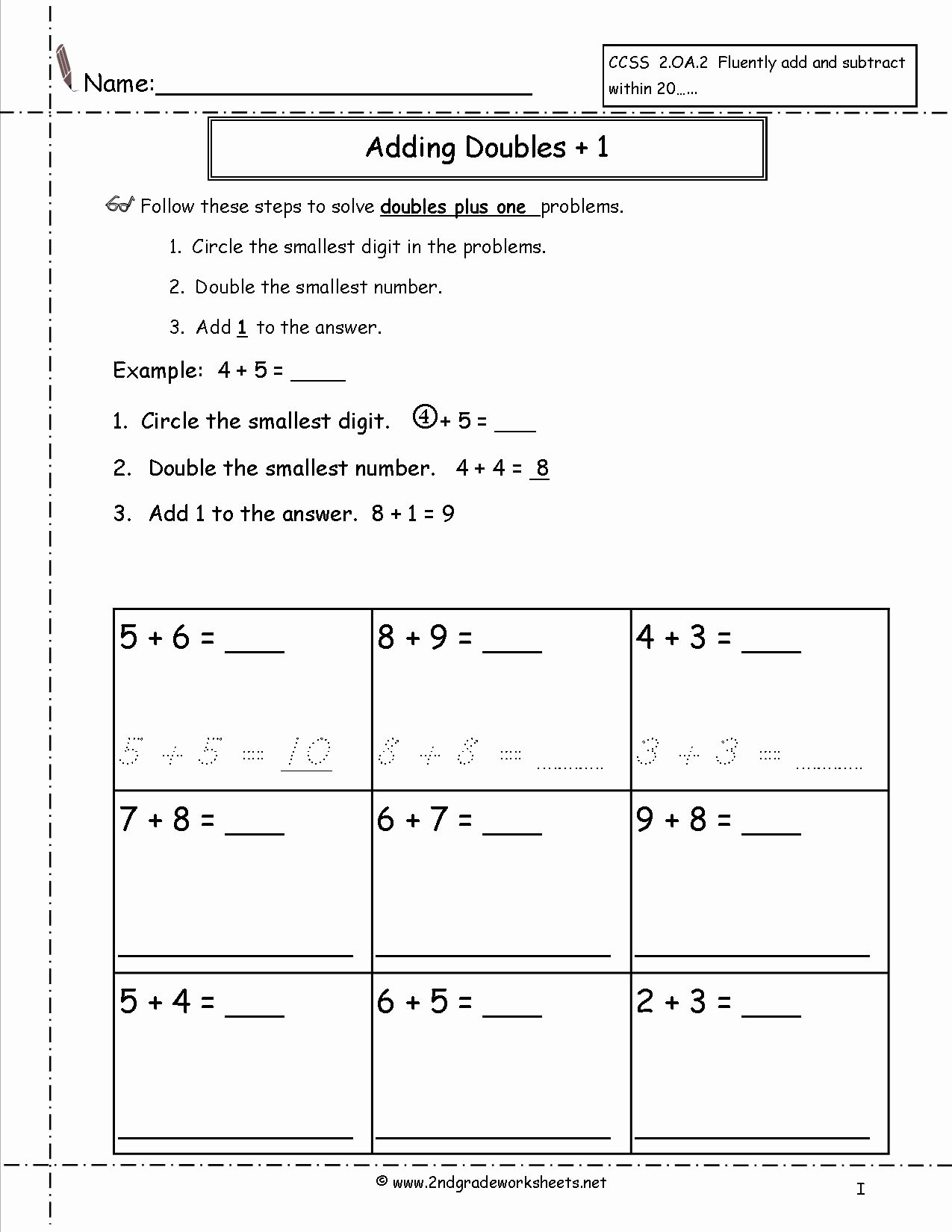 Doubles Plus One Worksheet Awesome Free Single Digit Addition Worksheets