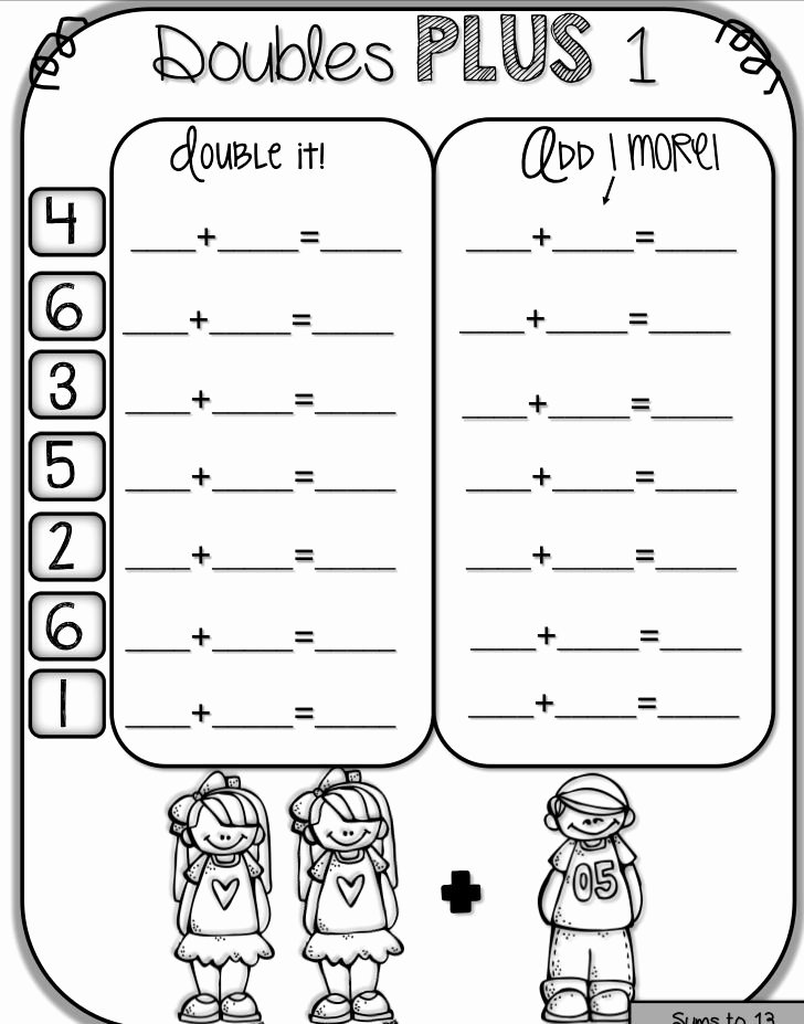 Doubles Plus One Worksheet Inspirational 1000 Ideas About Math Doubles On Pinterest
