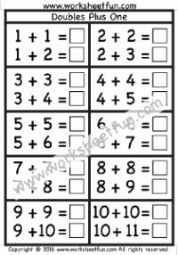Doubles Plus One Worksheet Lovely Worksheets for Doubles Plus 1 and Doubles Minus 1