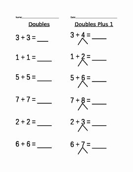 Doubles Plus One Worksheet Unique Doubles Plus 1 Worksheet by Nicole Lipori