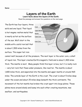 Earth Layers Worksheet Pdf Awesome Earth Layers Prehension