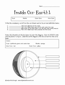 Earth Layers Worksheet Pdf Luxury Inside Our Earth Quiz Label Layers Of the Earth by Jaclyn