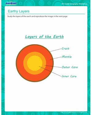 Earth Layers Worksheet Pdf New Earth Layers – Geography Kids Printable Worksheet – Jumpstart