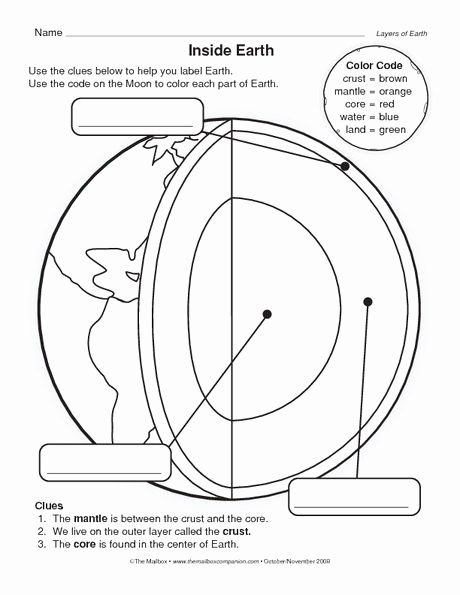 Earth Layers Worksheet Pdf New Earth Printables and the Earth On Pinterest
