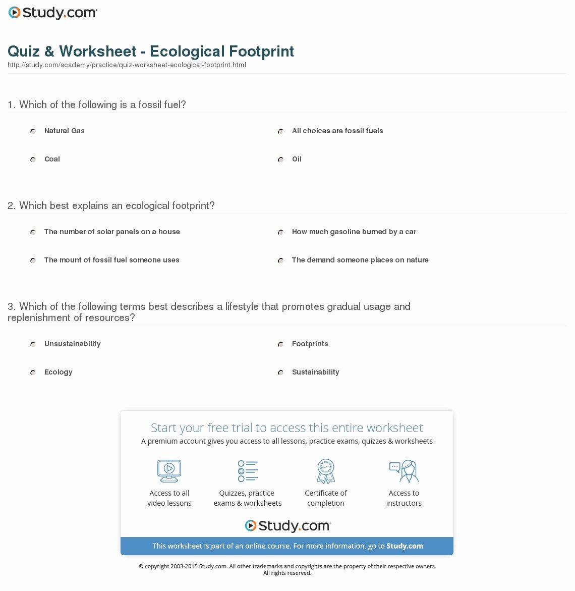 Ecological Footprint Calculator Worksheet Awesome Quiz & Worksheet Ecological Footprint
