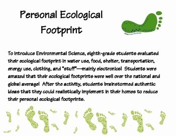 Ecological Footprint Calculator Worksheet Fresh Ecological Footprint Student Activity with Questionnaire