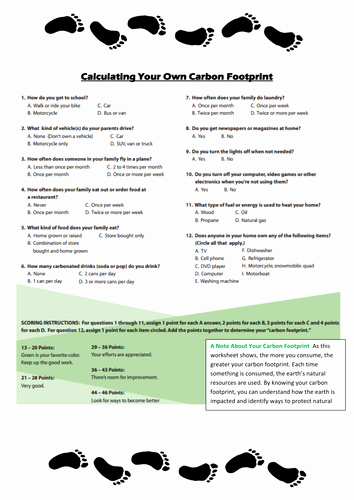 Ecological Footprint Calculator Worksheet New Carbon Footprint Calculator for Kids Worksheet