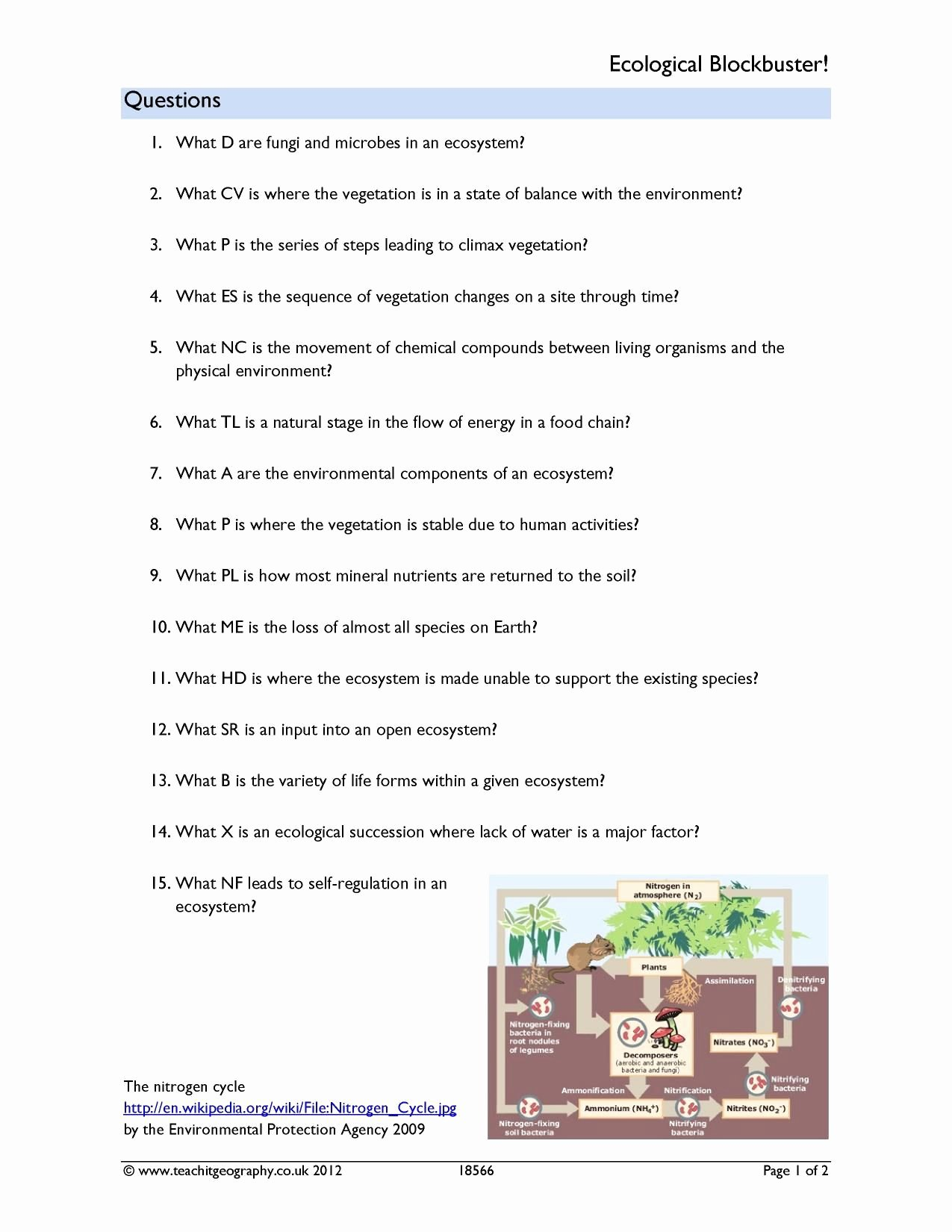 Ecological Succession Worksheet Answers Awesome Ecological Succession Worksheet Answer Key