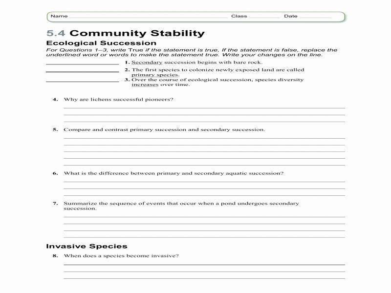 Ecological Succession Worksheet Answers Best Of Ecological Succession Worksheet Answers Free Printable