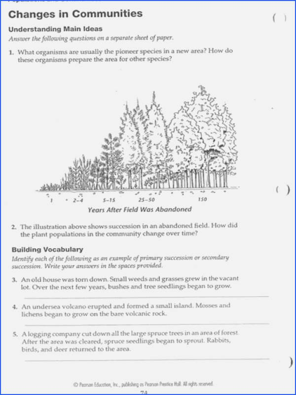Ecological Succession Worksheet Answers Inspirational Ecological Succession Worksheet