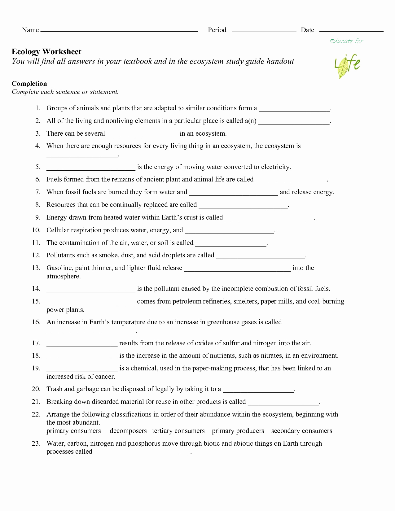 Ecological Succession Worksheet High School Awesome 17 Best Of Nitrogen Cycle Worksheet Middle School