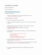 Ecological Succession Worksheet High School Beautiful Ecological Succession Internet Activity Ecological