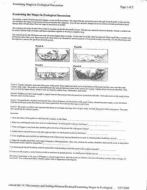 Ecological Succession Worksheet High School Beautiful Ecological Succession Worksheet