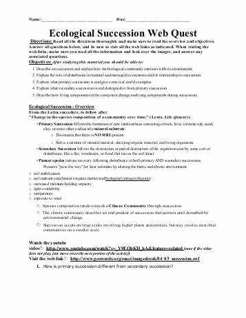 Ecological Succession Worksheet High School Best Of Ecological Succession Worksheet