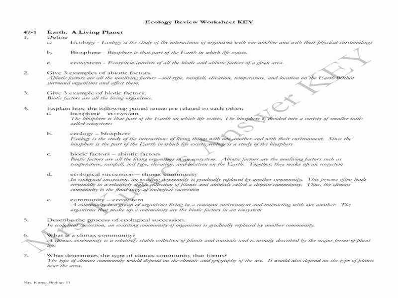 Ecological Succession Worksheet High School Inspirational Ecology Worksheets