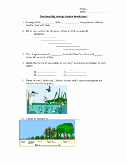 Ecology Review Worksheet 1 Elegant the Great Big Ecology Review Worksheet