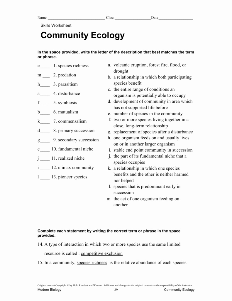 Ecology Review Worksheet 1 Unique Munity Ecology Skills Vocab Review Key