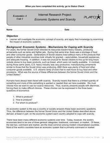 Economic Systems Worksheet Pdf Awesome Scarcity Review Worksheet with Answers Pdf Moon Valley