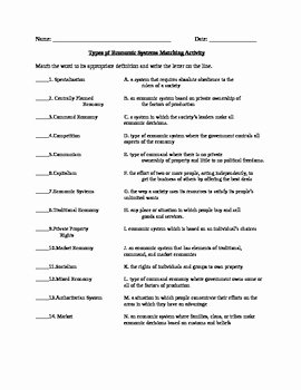 Economic Systems Worksheet Pdf Best Of Economics Types Of Economic Systems Vocabulary