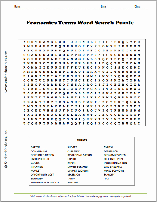 Economic Systems Worksheet Pdf Fresh Economics Terms Word Search Puzzle