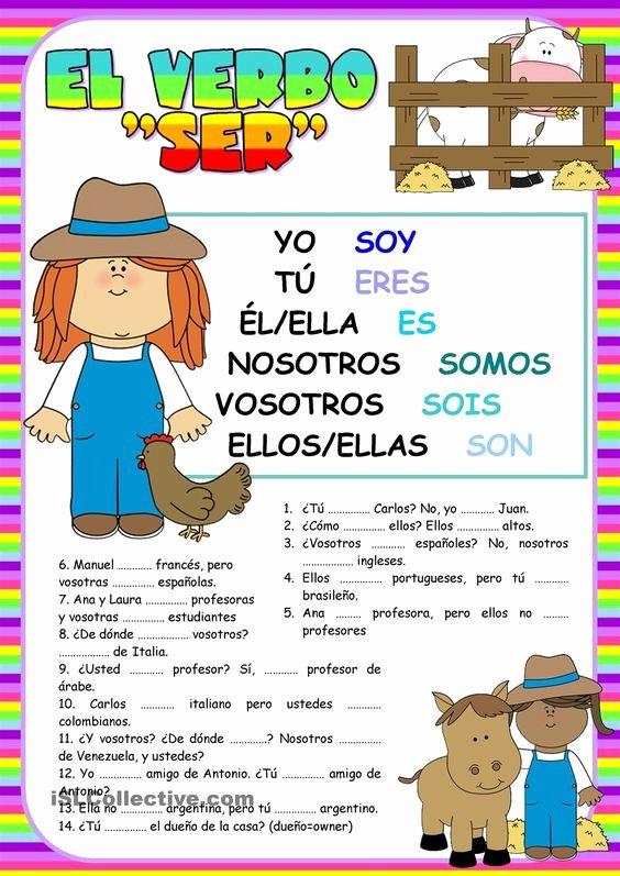 El Verbo Ser Worksheet Answers Beautiful El Verbo Ser Spanish Pinterest