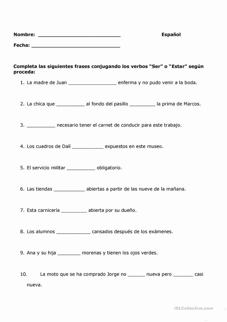El Verbo Ser Worksheet Answers Best Of El Verbo Ser Worksheet Answer Key